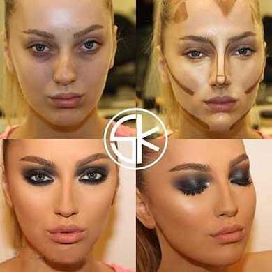 تکنیکهای آرایشی,پرتر نشان دادن صورت